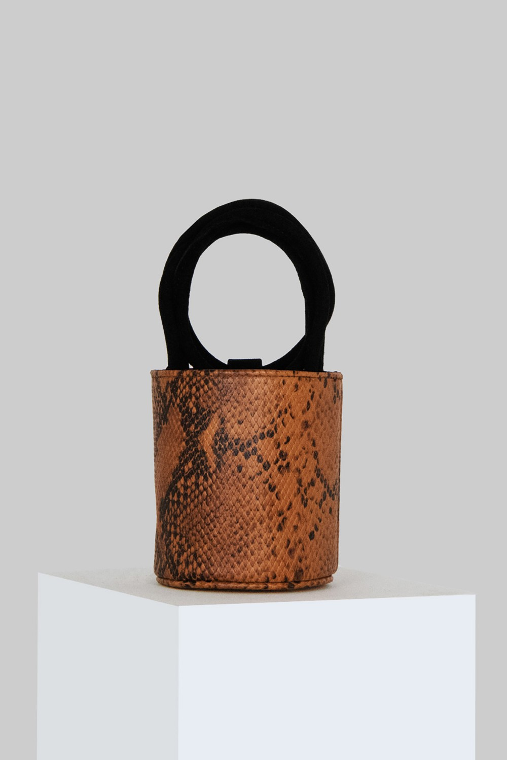 Mini Kyklos Snake Embossed Brown Leather Bag