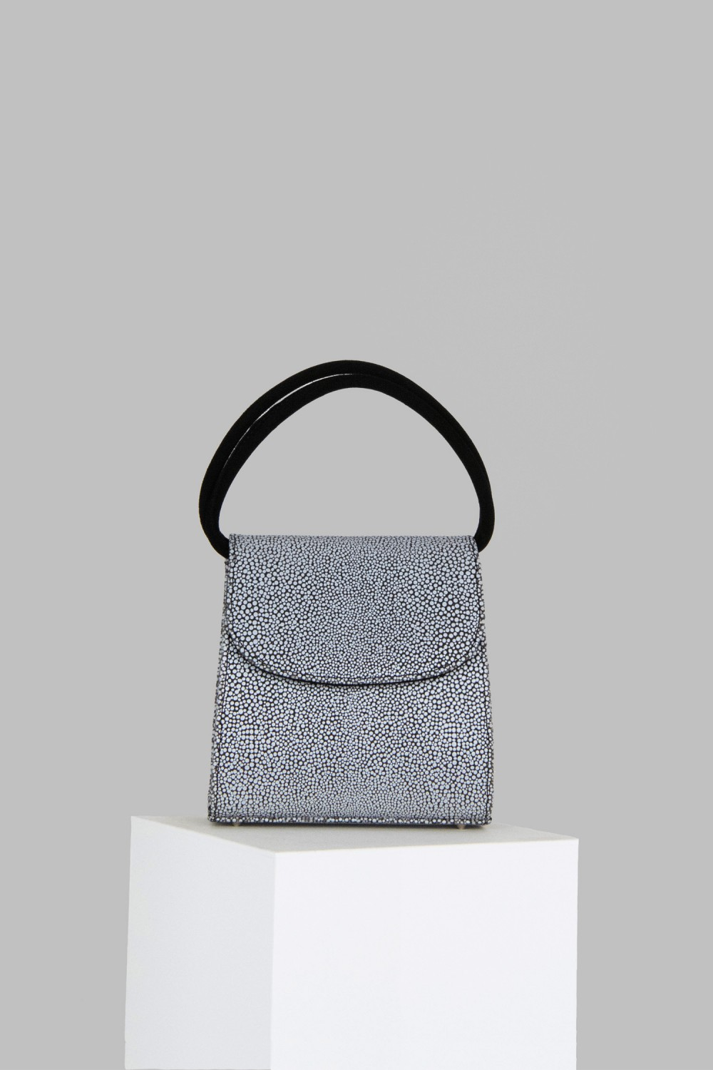 Loop Bag in Black and White Stingray Embossed Leather