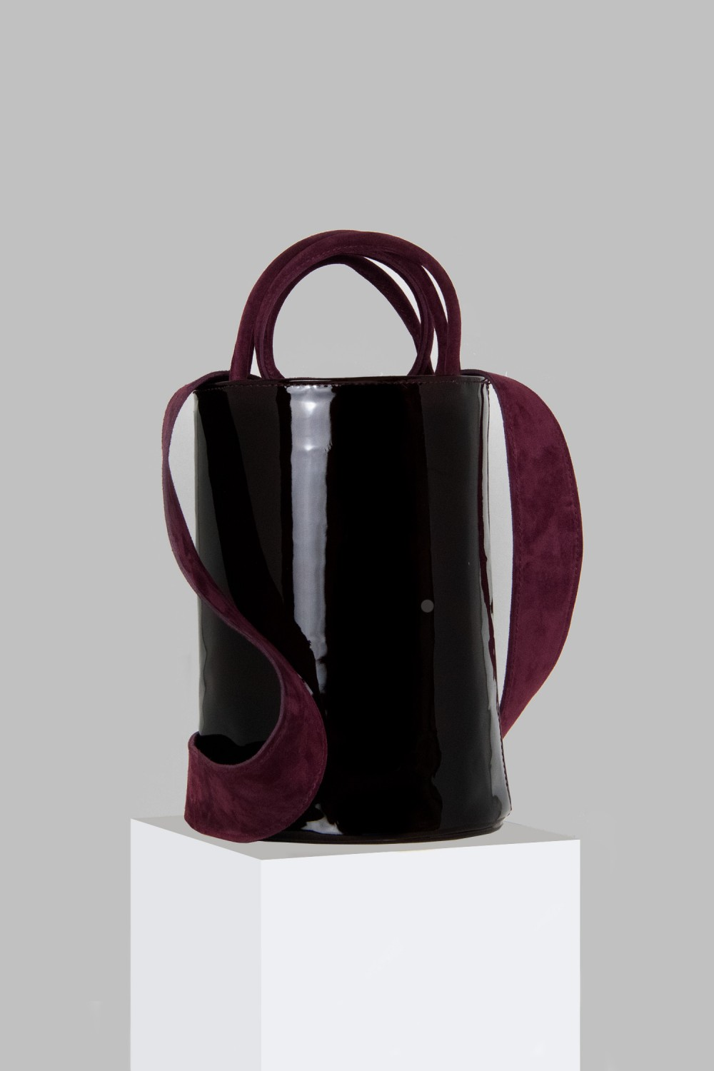 XL Kyklos Maroon Patent Leather Bag