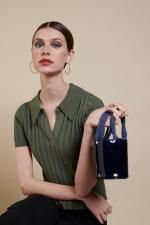 Mini Kyklos Navy Patent Leather Bag