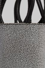 Medium Kyklos Black and White Stingray Embossed Leather Bag
