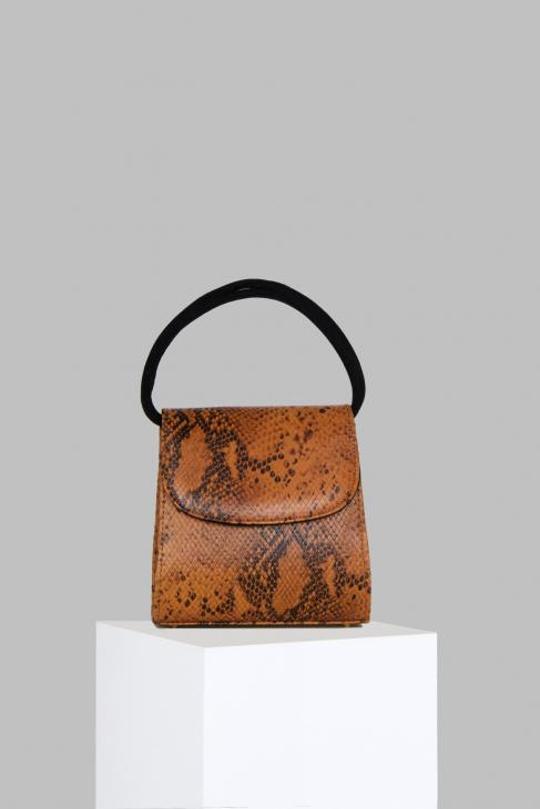 Loop Bag in Snake Embossed Brown Leather