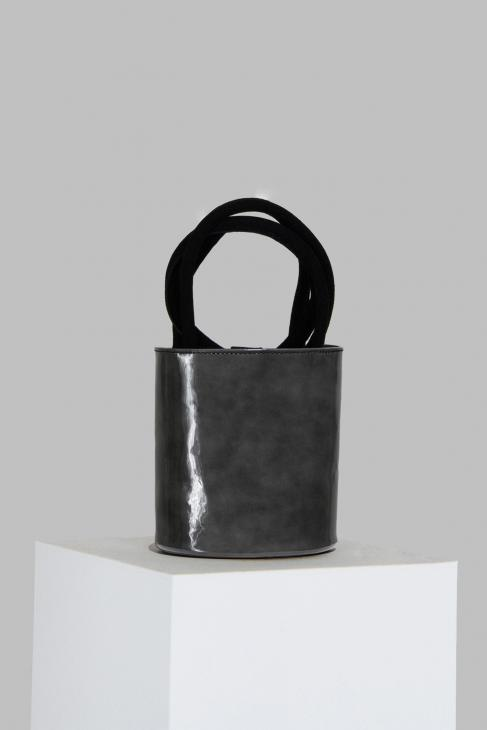 Mini Kyklos Grey Patent Leather Bag