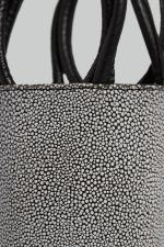 Mini Kyklos Black and White Stingray Embossed Leather Bag