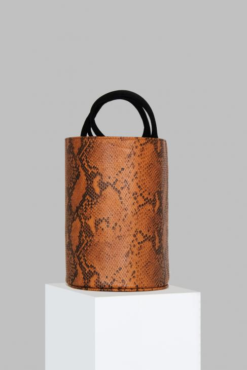 Medium Kyklos Snake Embossed Brown Leather Bag