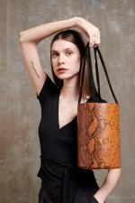 XL Kyklos Snake Embossed in Brown Leather Bag